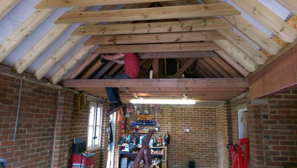 Removing A Couple More Roof Joists In The Garage Roof